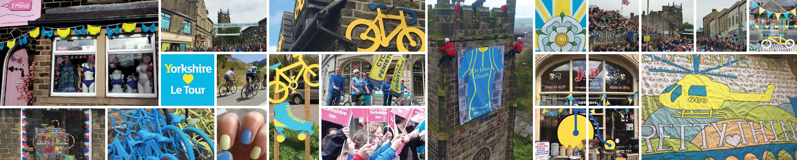 Montage of Tour de Yorkshire photos in the Penistone area